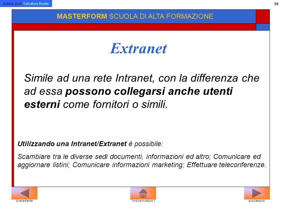Autore: prof. Salvatore Basile 93 MASTERFORM SCUOLA DI ALTA FORMAZIONE Intranet Extranet E una rete di computer dislocate in sede diverse e comunicant