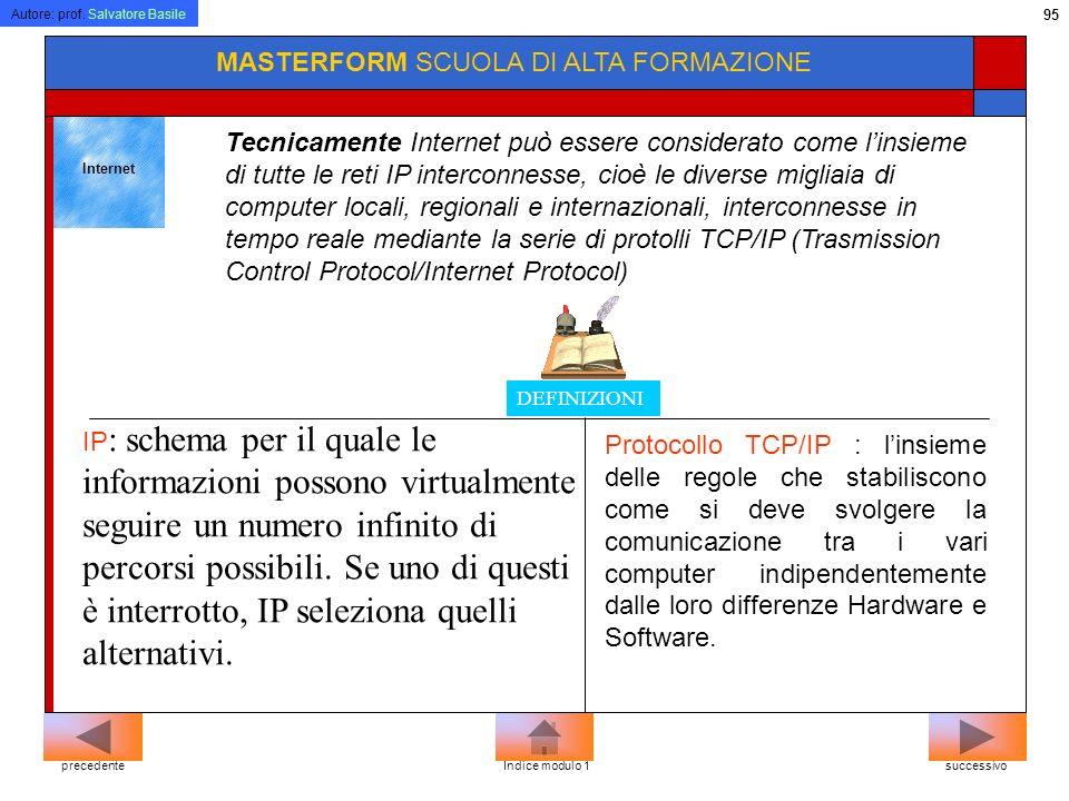 Autore: prof. Salvatore Basile 94 MASTERFORM SCUOLA DI ALTA FORMAZIONE successivoprecedenteIndice modulo 1 Extranet Simile ad una rete Intranet, con l