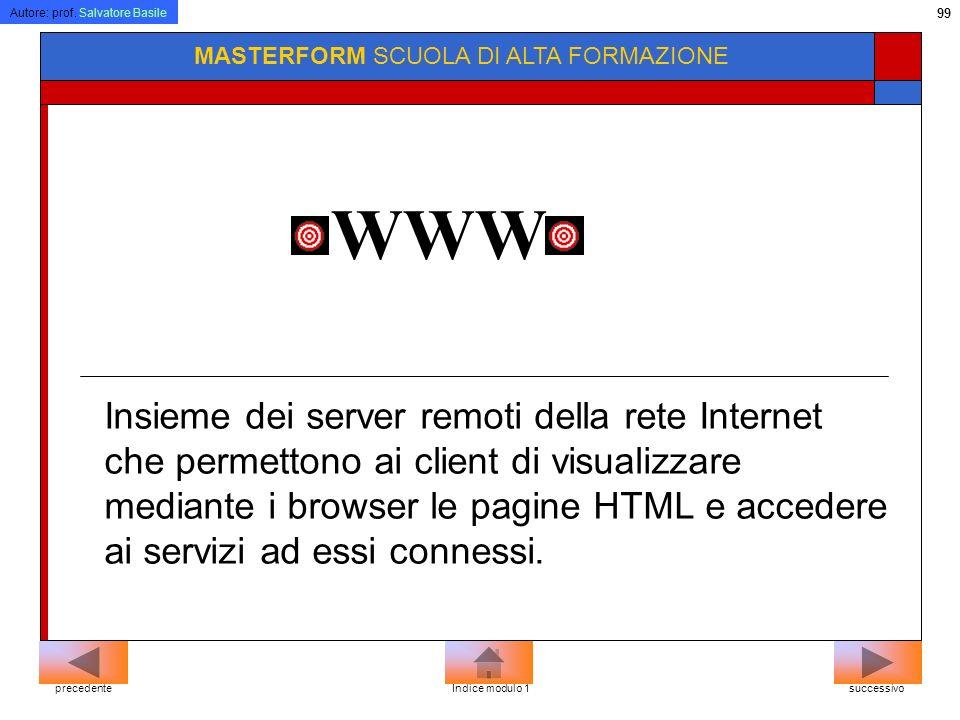 Autore: prof. Salvatore Basile 98 MASTERFORM SCUOLA DI ALTA FORMAZIONE Per connettersi ad un sito bisogna conoscere lindirizzo (URL) che è identificat