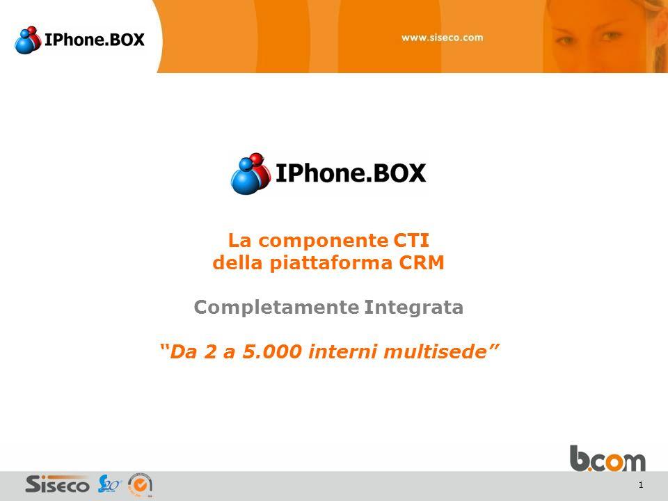 1 La componente CTI della piattaforma CRM Completamente Integrata Da 2 a 5.000 interni multisede