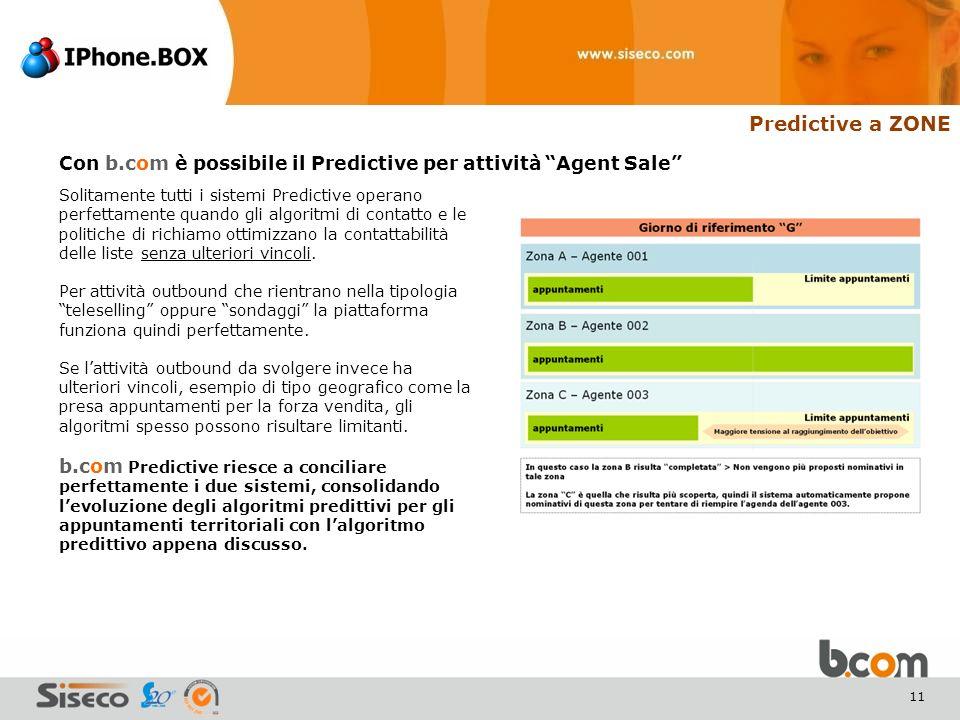 11 Predictive a ZONE Solitamente tutti i sistemi Predictive operano perfettamente quando gli algoritmi di contatto e le politiche di richiamo ottimizzano la contattabilità delle liste senza ulteriori vincoli.