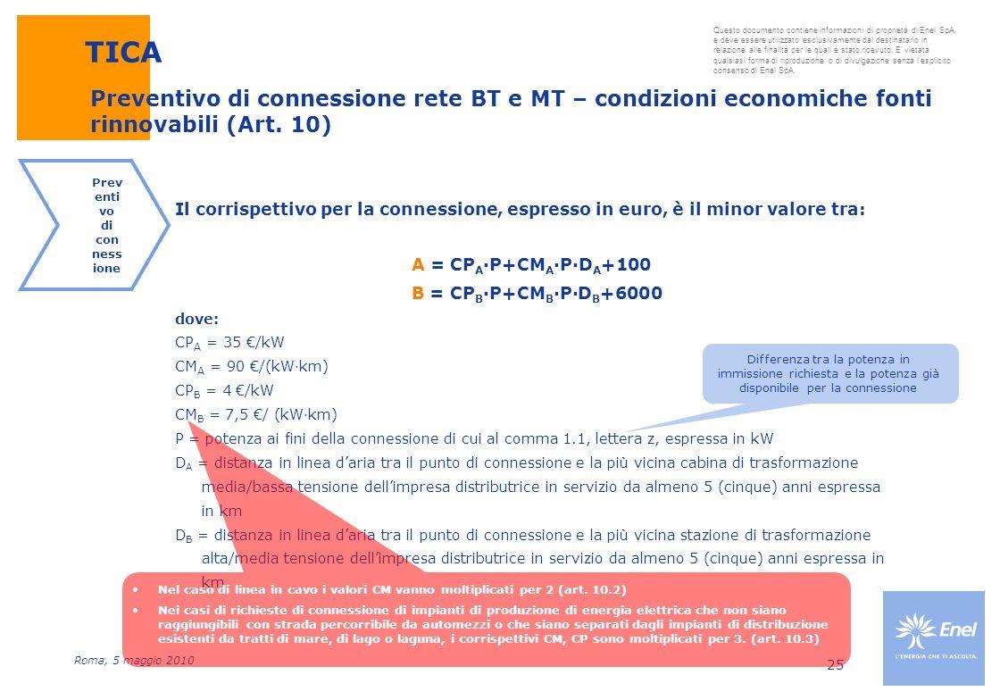 Roma, 5 maggio 2010 Questo documento contiene informazioni di proprietà di Enel SpA e deve essere utilizzato esclusivamente dal destinatario in relazi