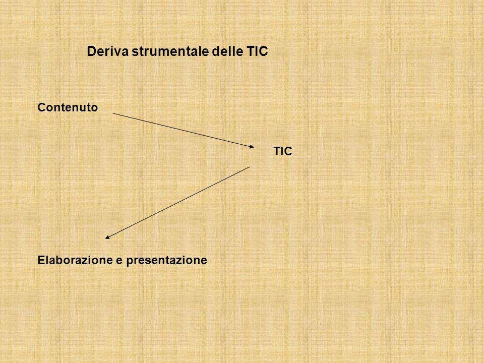 Deriva strumentale delle TIC Contenuto TIC Elaborazione e presentazione