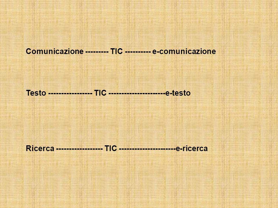 Comunicazione --------- TIC ---------- e-comunicazione Testo ----------------- TIC ----------------------e-testo Ricerca ------------------ TIC ----------------------e-ricerca