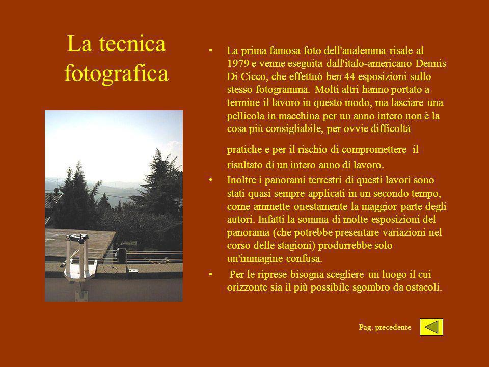 La tecnica fotografica La prima famosa foto dell analemma risale al 1979 e venne eseguita dall italo-americano Dennis Di Cicco, che effettuò ben 44 esposizioni sullo stesso fotogramma.