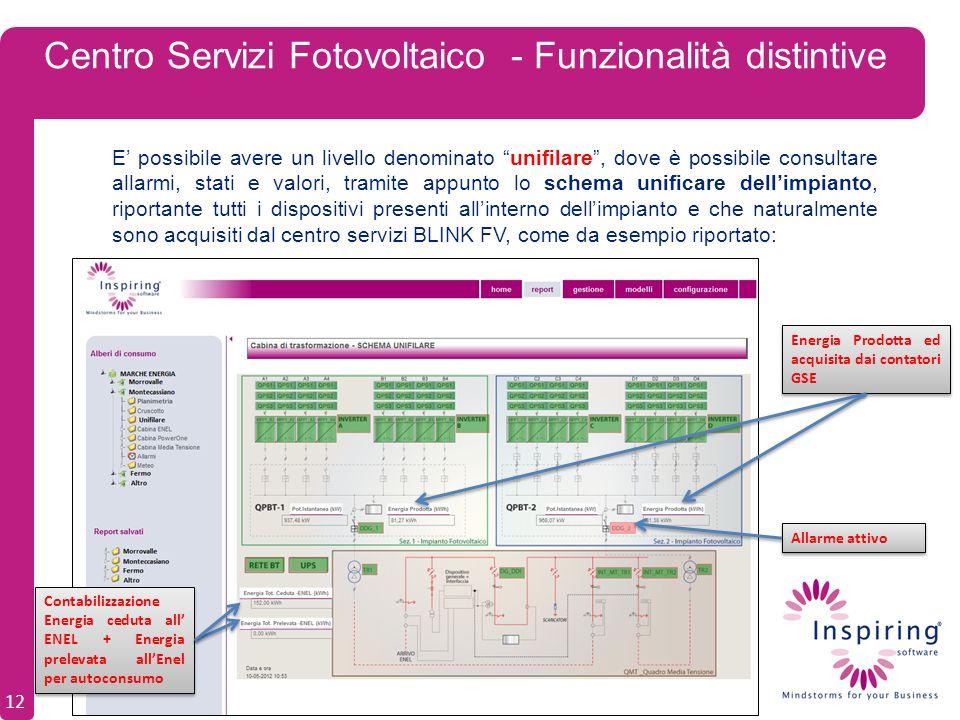 Centro Servizi Fotovoltaico - Funzionalità distintive E possibile avere un livello denominato unifilare, dove è possibile consultare allarmi, stati e