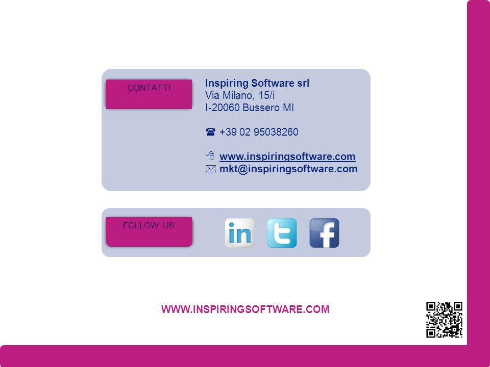 Inspiring Software srl Via Milano, 15/i I-20060 Bussero MI +39 02 95038260 www.inspiringsoftware.com mkt@inspiringsoftware.com CONTATTI WWW.INSPIRINGSOFTWARE.COM FOLLOW US