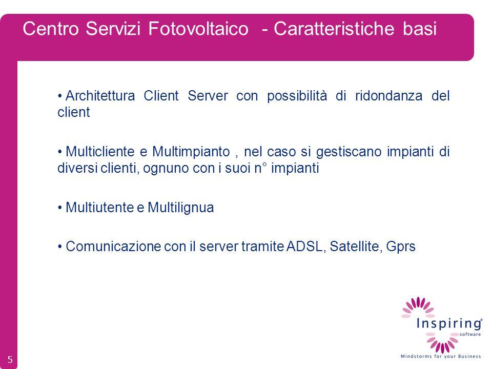 Centro Servizi Fotovoltaico - Caratteristiche basi Architettura Client Server con possibilità di ridondanza del client Multicliente e Multimpianto, nel caso si gestiscano impianti di diversi clienti, ognuno con i suoi n° impianti Multiutente e Multilignua Comunicazione con il server tramite ADSL, Satellite, Gprs 5