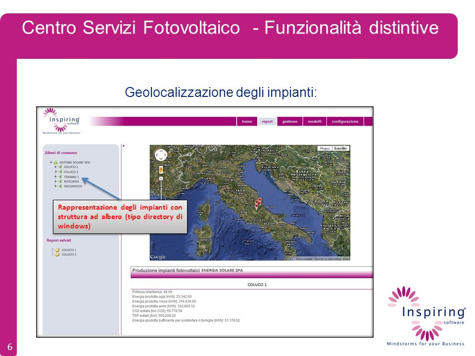 Centro Servizi Fotovoltaico - Funzionalità distintive Geolocalizzazione degli impianti: 6 Rappresentazione degli impianti con struttura ad albero (tip