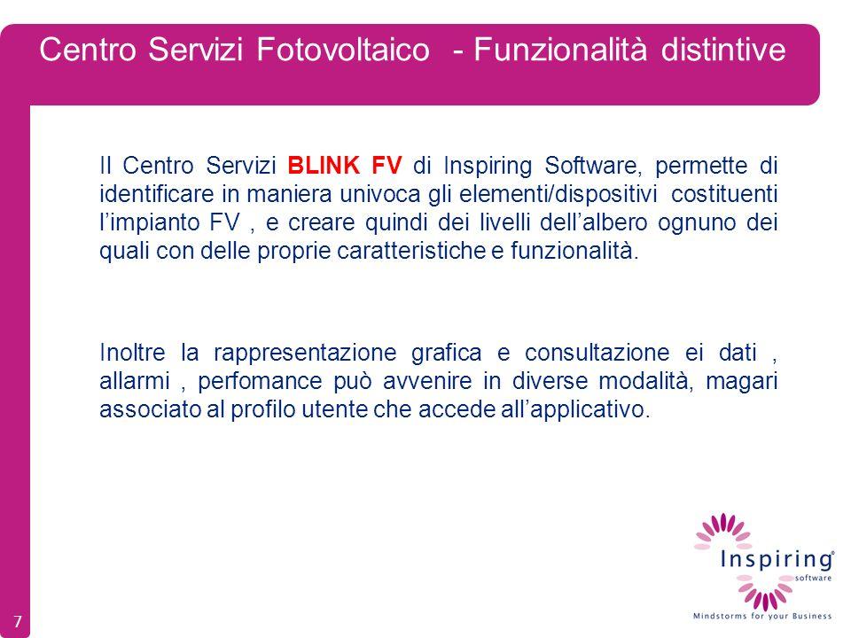 Centro Servizi Fotovoltaico - Funzionalità distintive Il Centro Servizi BLINK FV di Inspiring Software, permette di identificare in maniera univoca gli elementi/dispositivi costituenti limpianto FV, e creare quindi dei livelli dellalbero ognuno dei quali con delle proprie caratteristiche e funzionalità.