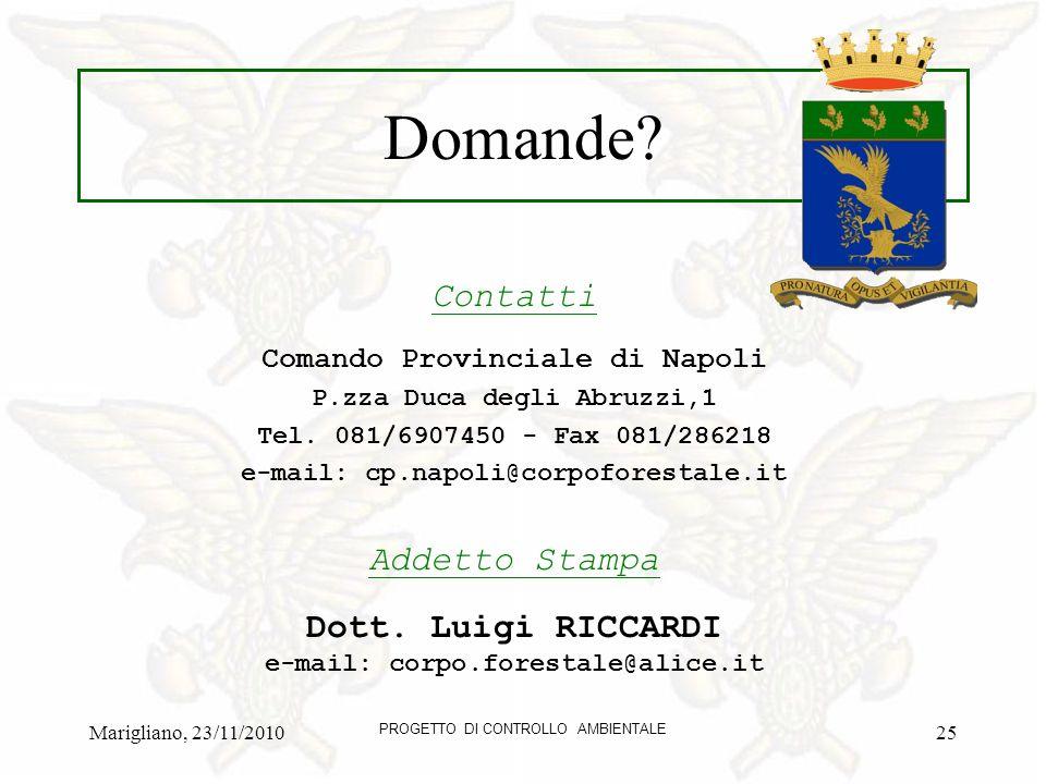 Marigliano, 23/11/2010 PROGETTO DI CONTROLLO AMBIENTALE 25 Domande.