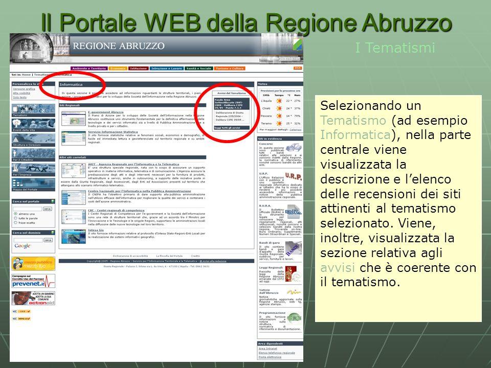 Il Portale WEB della Regione Abruzzo I Tematismi Selezionando un Tematismo (ad esempio Informatica), nella parte centrale viene visualizzata la descrizione e lelenco delle recensioni dei siti attinenti al tematismo selezionato.