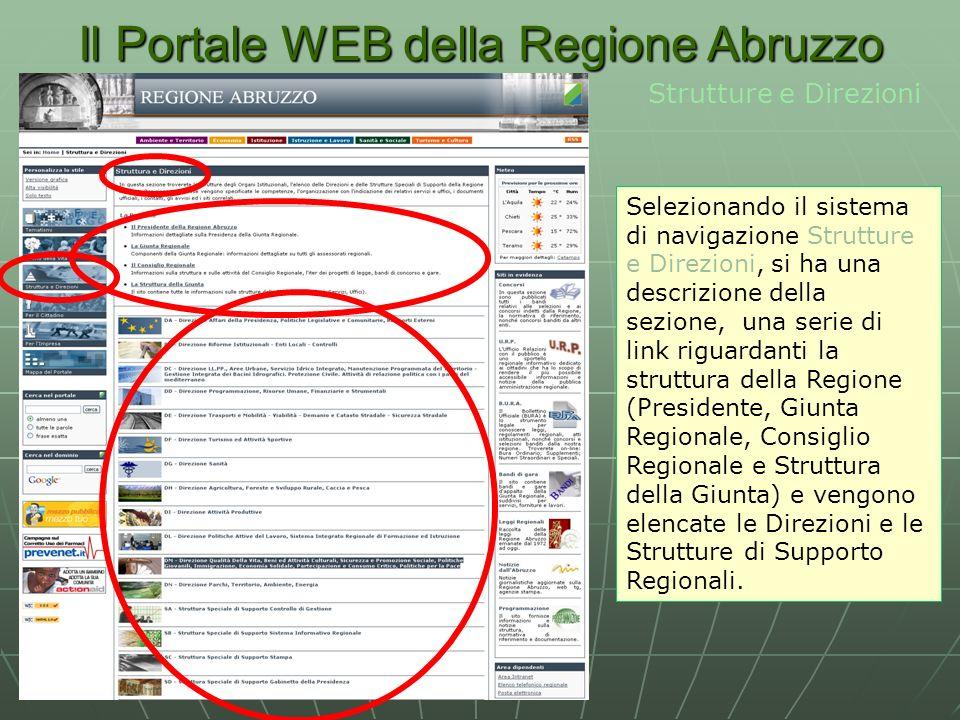 Il Portale WEB della Regione Abruzzo Strutture e Direzioni Selezionando il sistema di navigazione Strutture e Direzioni, si ha una descrizione della sezione, una serie di link riguardanti la struttura della Regione (Presidente, Giunta Regionale, Consiglio Regionale e Struttura della Giunta) e vengono elencate le Direzioni e le Strutture di Supporto Regionali.