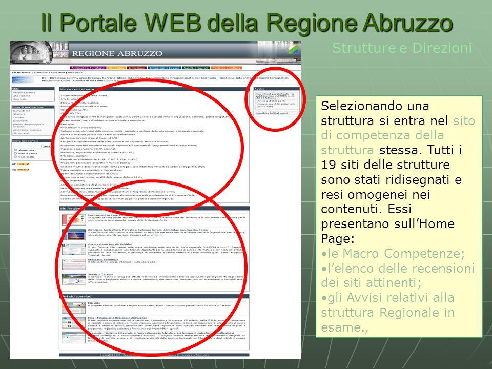 Il Portale WEB della Regione Abruzzo Strutture e Direzioni Selezionando una struttura si entra nel sito di competenza della struttura stessa.