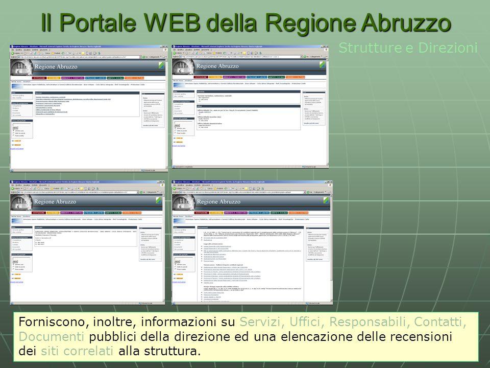 Il Portale WEB della Regione Abruzzo Strutture e Direzioni Forniscono, inoltre, informazioni su Servizi, Uffici, Responsabili, Contatti, Documenti pubblici della direzione ed una elencazione delle recensioni dei siti correlati alla struttura.
