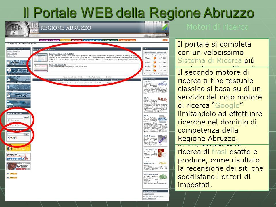 Il Portale WEB della Regione Abruzzo Motori di ricerca Il portale si completa con un velocissimo Sistema di Ricerca più puntuale e specifico di quanto possa fare un comune motore, in quanto basato su ricerca nella Meta-Informazione prodotta nella fase di recensione del sito.