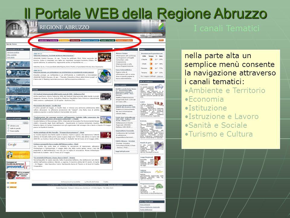 Il Portale WEB della Regione Abruzzo I canali Tematici nella parte alta un semplice menù consente la navigazione attraverso i canali tematici: Ambiente e Territorio Economia Istituzione Istruzione e Lavoro Sanità e Sociale Turismo e Cultura
