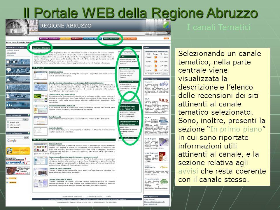 Il Portale WEB della Regione Abruzzo I canali Tematici Selezionando un canale tematico, nella parte centrale viene visualizzata la descrizione e lelenco delle recensioni dei siti attinenti al canale tematico selezionato.