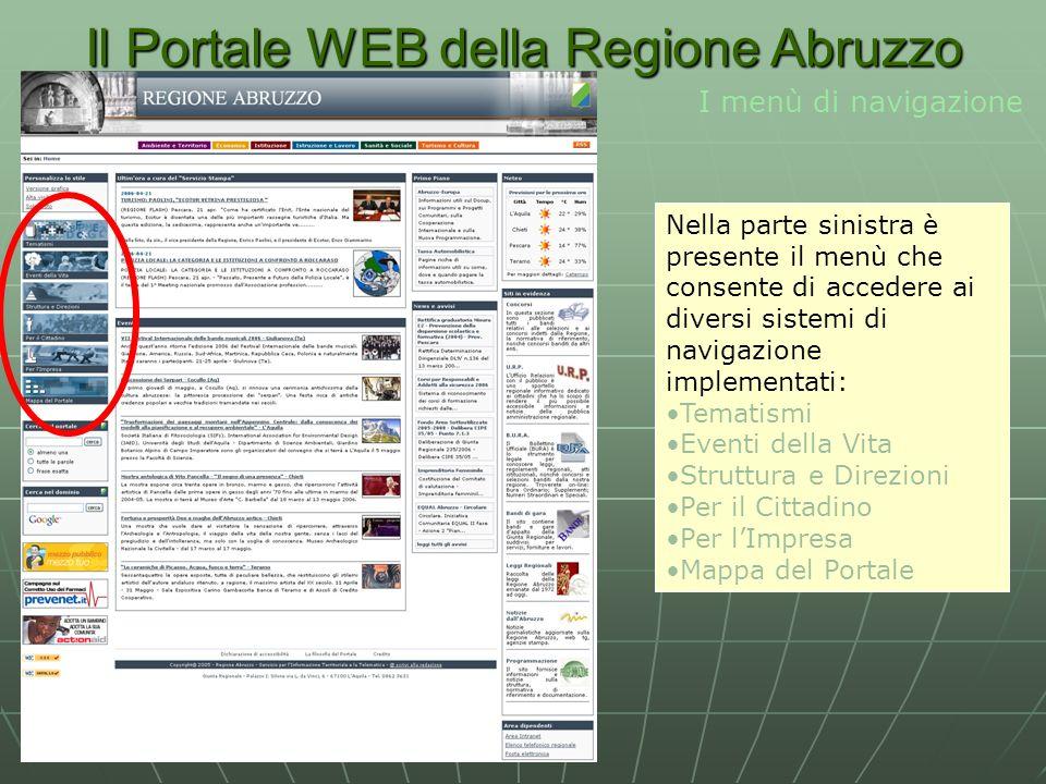 Il Portale WEB della Regione Abruzzo I menù di navigazione Nella parte sinistra è presente il menù che consente di accedere ai diversi sistemi di navigazione implementati: Tematismi Eventi della Vita Struttura e Direzioni Per il Cittadino Per lImpresa Mappa del Portale