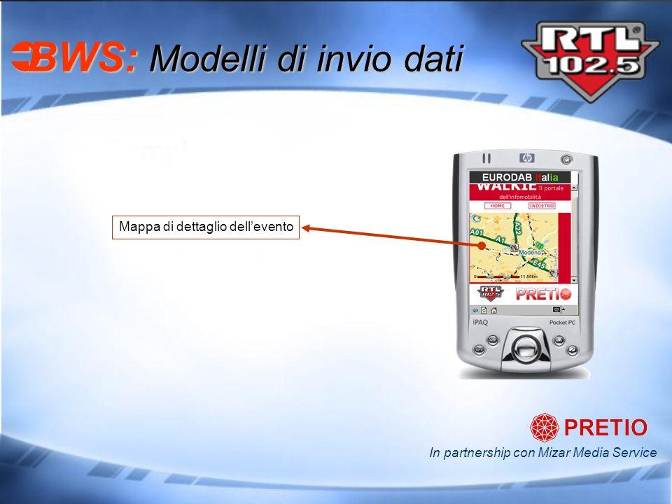 BWS: Modelli di invio dati BWS: Modelli di invio dati In partnership con Mizar Media Service Mappa di dettaglio dellevento
