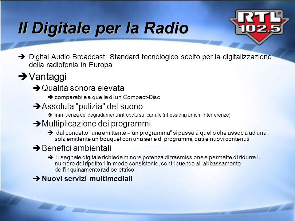 Digital Audio Broadcast: Standard tecnologico scelto per la digitalizzazione della radiofonia in Europa. Vantaggi Qualità sonora elevata comparabile a