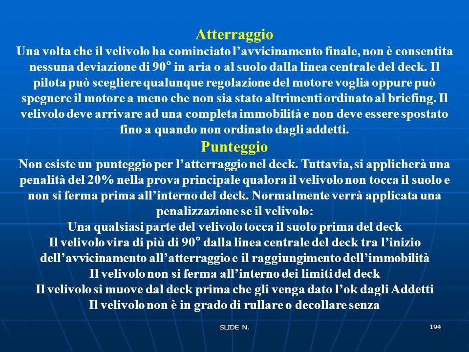 SLIDE N. 193 ATTERRAGGIO NEL DECK Obiettivi Lobiettivo è che il velivolo atterri in un deck lungo 100 metri e largo 25 metri. Riepilogo La prova mette