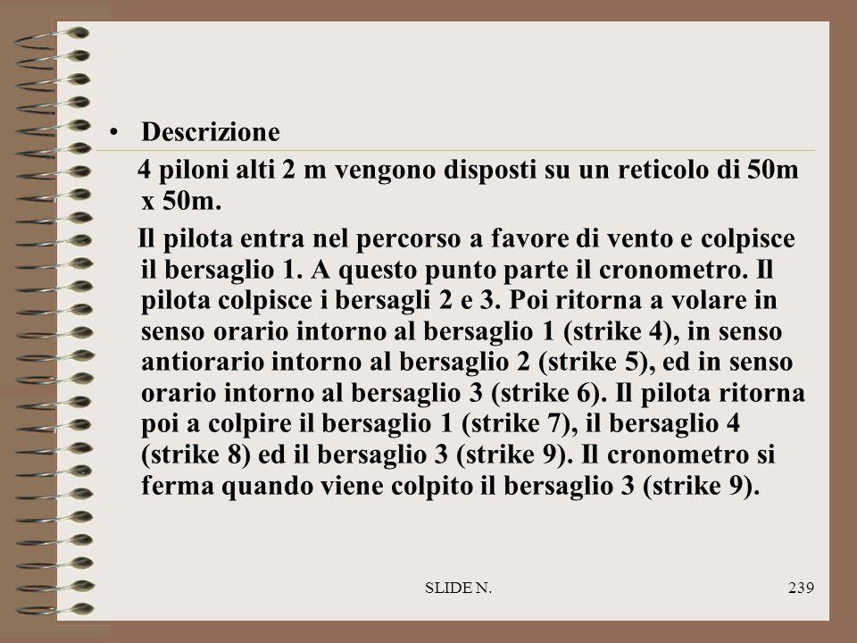 SLIDE N.238 Obiettivo Colpire un numero di bersagli disposti in un dato ordine nel più breve tempo possibile e ritornare al deck. CIRCUITO DI PRECISIO