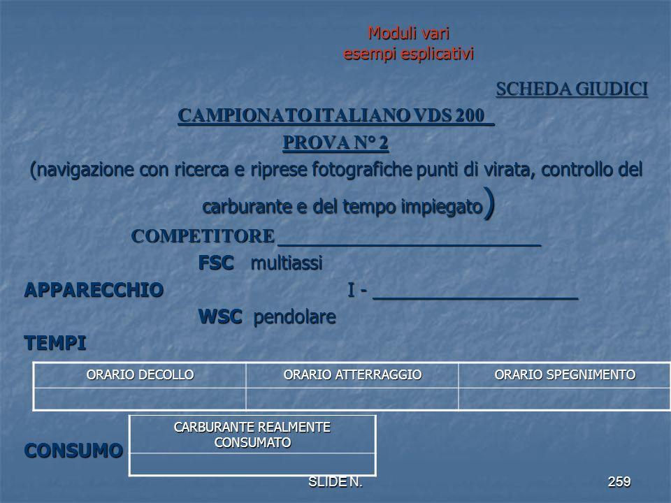 SLIDE N.258 Segue moduli vari SCHEDA A CURA COMPETITORE Da consegnare al Capo Giudice alla prova Entro 60 Dal termine del briefing CAMPIONATO ITALIANO