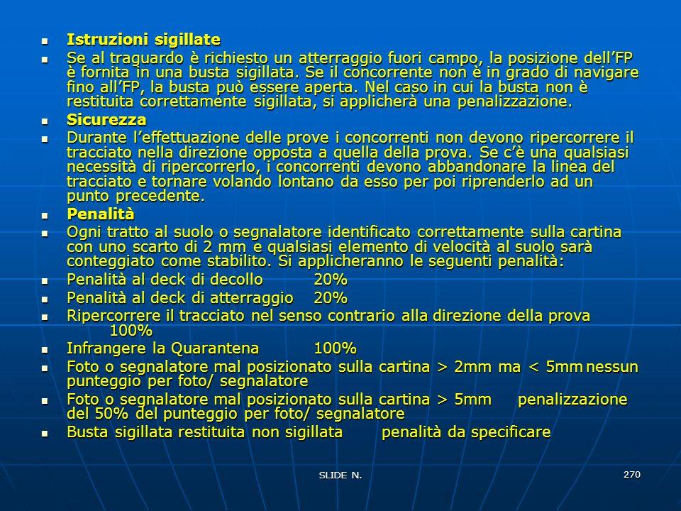 SLIDE N. 269 Ai concorrenti saranno dati: - la posizione di un punto di partenza (SP) prima del quale non verranno trovati segnalatori, tratti distint