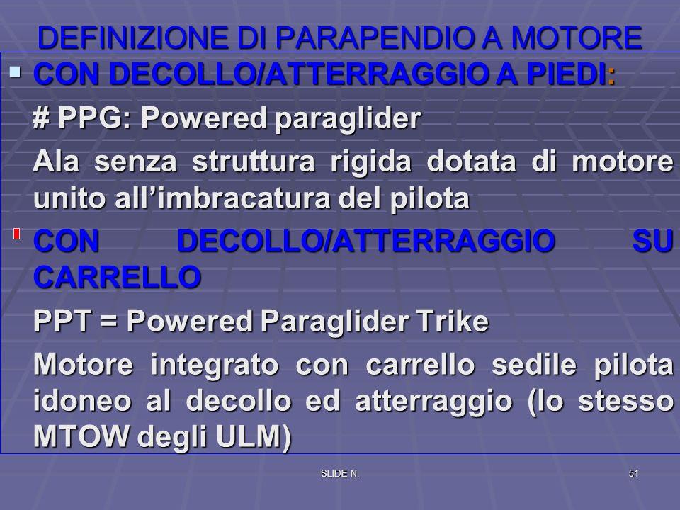SLIDE N.50 DEFINIZIONE DI ULTRALEGGERERO CATEGORIE APPARECCHIO MONOPOSTO O BIPOSTO CON: -velocità di stallo (in MTOW) minore di 65 Km/h -Peso massimo