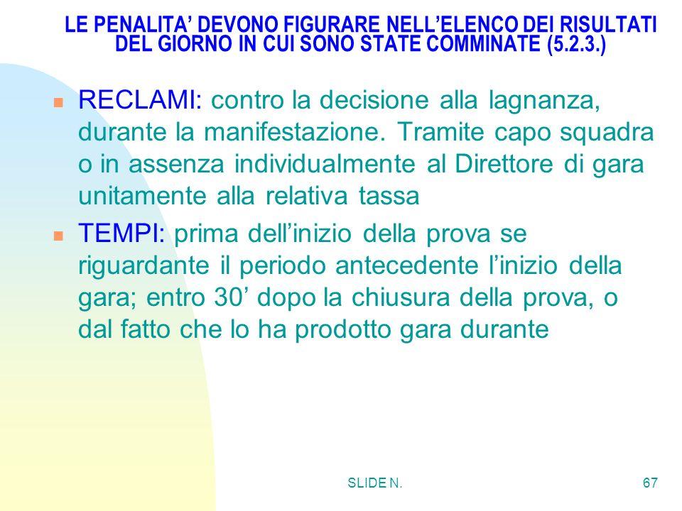 SLIDE N.66 LAGNANZA: prima dellinizio della manifestazione (5.1.2.) PENALITA(5.2.1.): detrazione di punti; cambiamenti nellordine di classifica; o qua