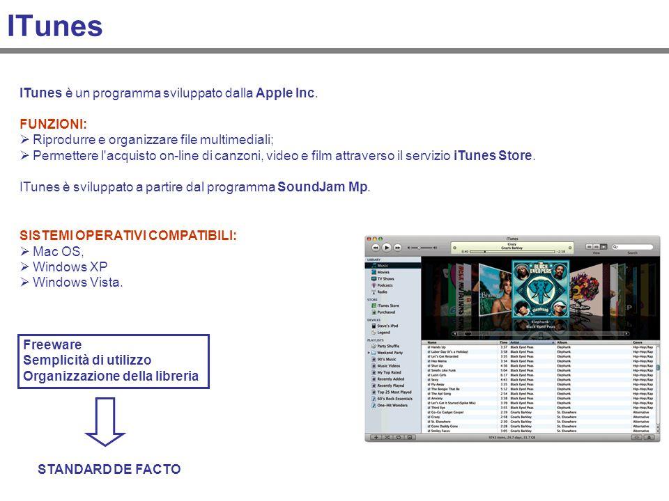 ITunes SISTEMI OPERATIVI COMPATIBILI: Mac OS, Windows XP Windows Vista. Freeware Semplicità di utilizzo Organizzazione della libreria STANDARD DE FACT