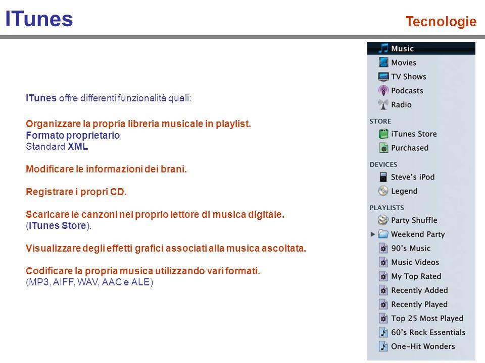 ITunes Tecnologie ITunes offre differenti funzionalità quali: Ascoltare la radio dal web.