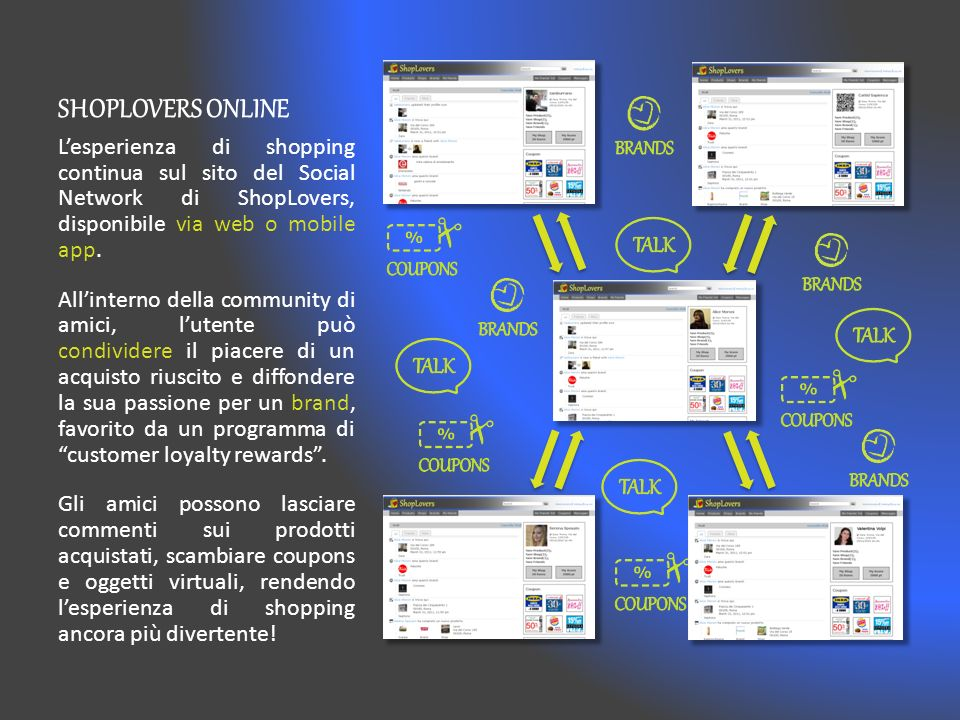 SHOPLOVERS ONLINE Lesperienza di shopping continua sul sito del Social Network di ShopLovers, disponibile via web o mobile app.