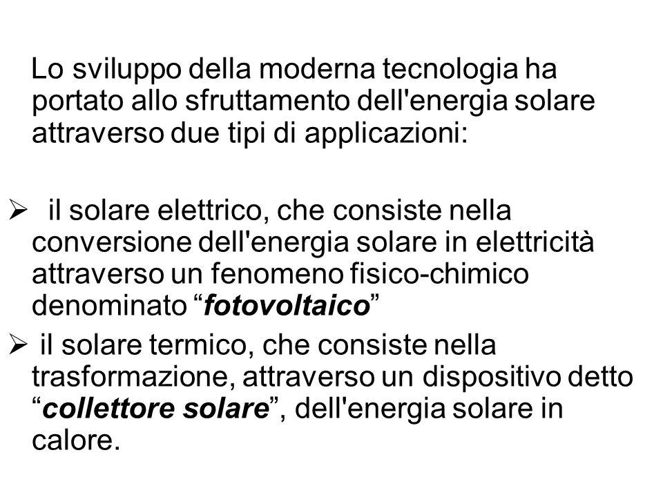 Lo sviluppo della moderna tecnologia ha portato allo sfruttamento dell'energia solare attraverso due tipi di applicazioni: il solare elettrico, che co