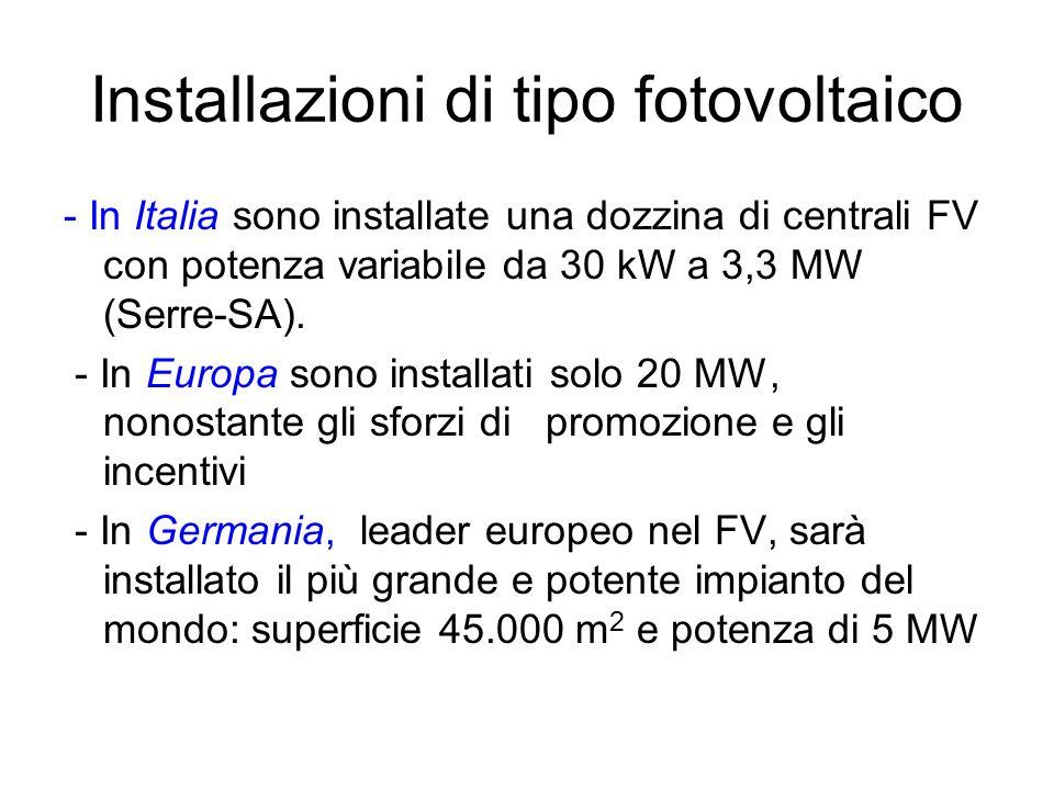 Installazioni di tipo fotovoltaico - In Italia sono installate una dozzina di centrali FV con potenza variabile da 30 kW a 3,3 MW (Serre-SA). - In Eur