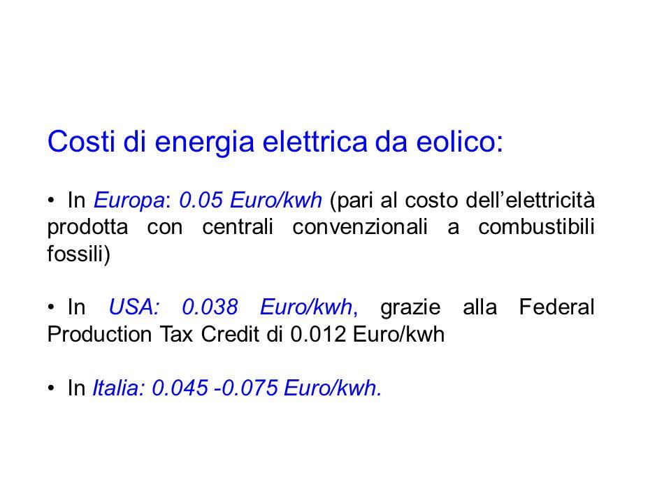 Costi di energia elettrica da eolico: In Europa: 0.05 Euro/kwh (pari al costo dellelettricità prodotta con centrali convenzionali a combustibili fossi