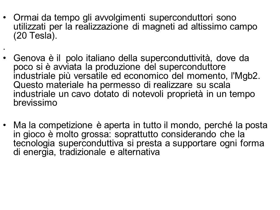 Ormai da tempo gli avvolgimenti superconduttori sono utilizzati per la realizzazione di magneti ad altissimo campo (20 Tesla).. Genova è il polo itali