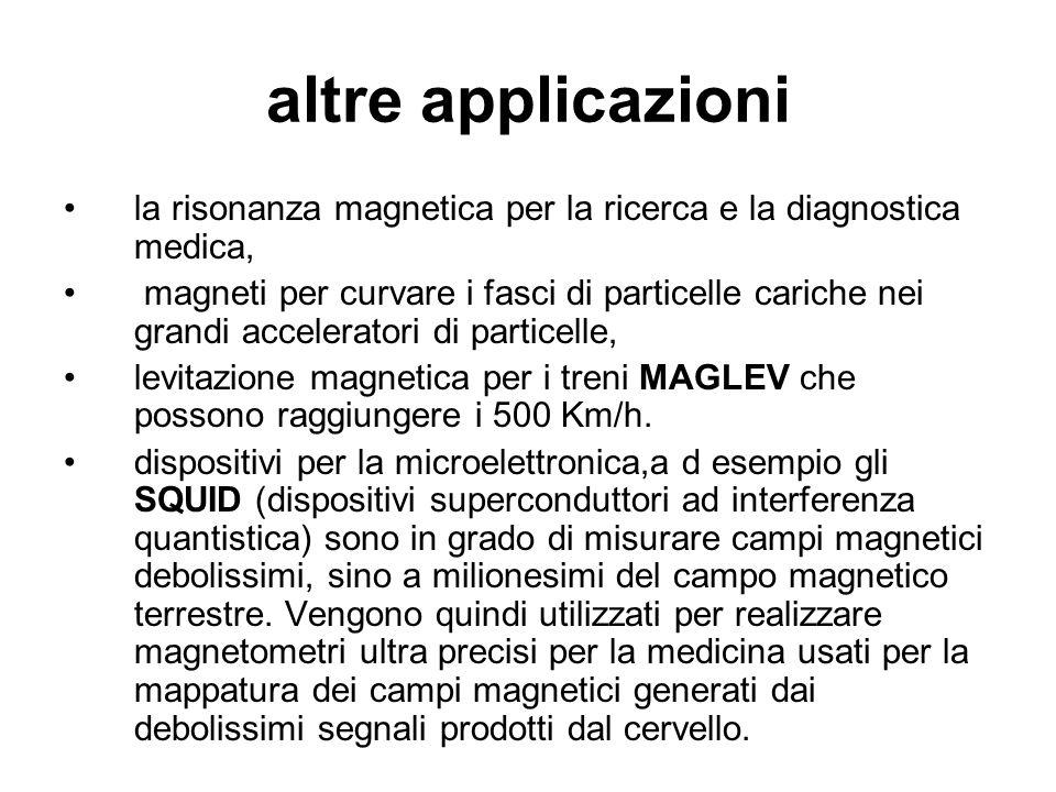 altre applicazioni la risonanza magnetica per la ricerca e la diagnostica medica, magneti per curvare i fasci di particelle cariche nei grandi acceler