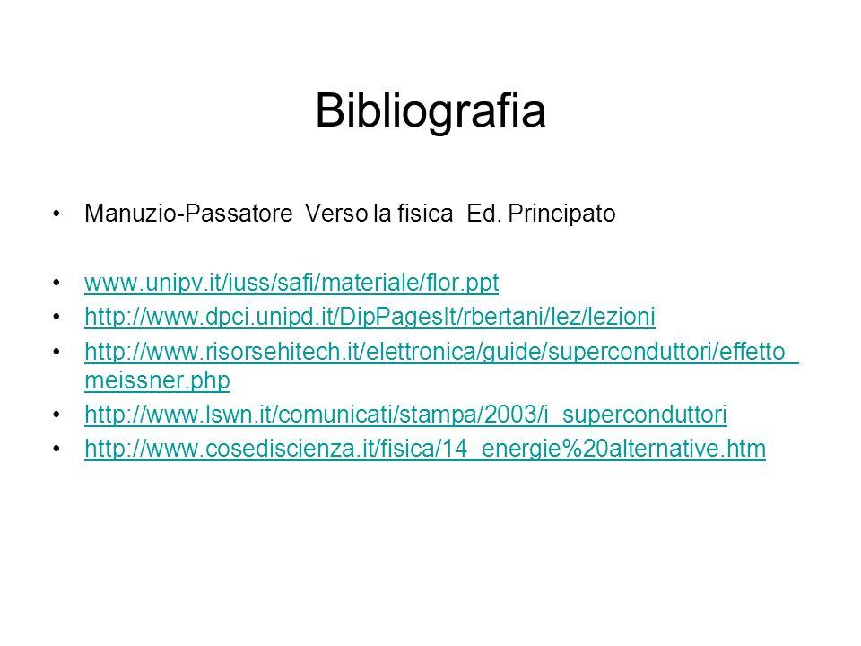 Bibliografia Manuzio-Passatore Verso la fisica Ed. Principato www.unipv.it/iuss/safi/materiale/flor.ppt http://www.dpci.unipd.it/DipPagesIt/rbertani/l