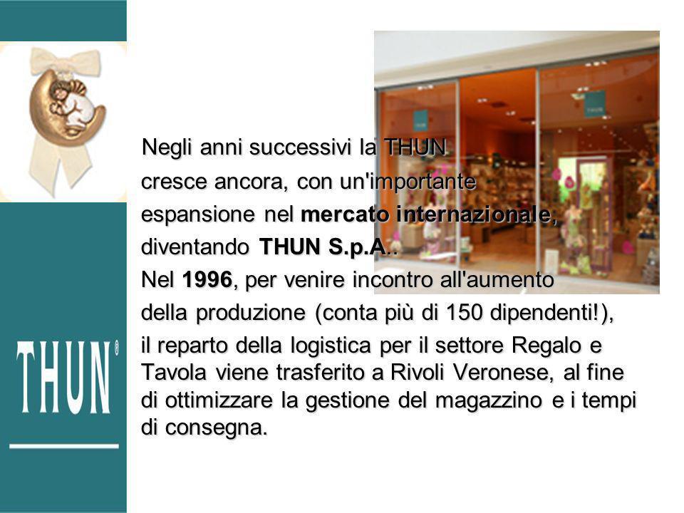 Negli anni successivi la THUN Negli anni successivi la THUN cresce ancora, con un importante espansione nel mercato internazionale, diventando THUN S.p.A..