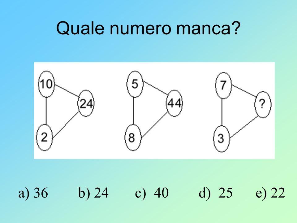 Quale numero manca? a) 36 b) 24 c) 40 d) 25 e) 22