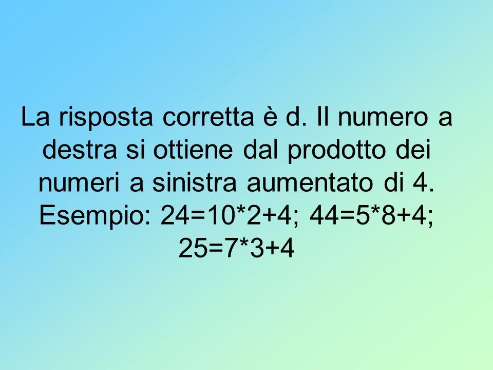 La risposta corretta è d. Il numero a destra si ottiene dal prodotto dei numeri a sinistra aumentato di 4. Esempio: 24=10*2+4; 44=5*8+4; 25=7*3+4