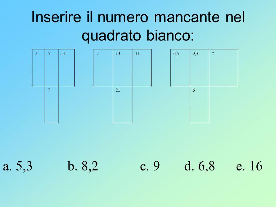 Inserire il numero mancante nel quadrato bianco: 2514713410,50,3? 7216 a. 5,3 b. 8,2 c. 9 d. 6,8 e. 16