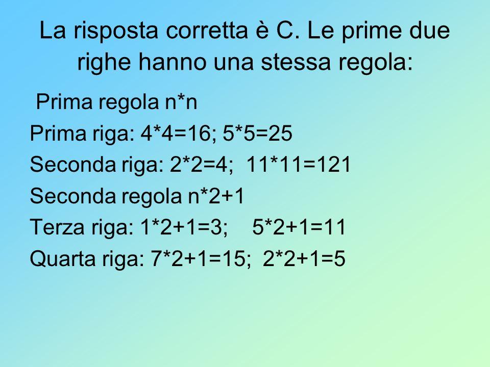 La risposta corretta è C. Le prime due righe hanno una stessa regola: Prima regola n*n Prima riga: 4*4=16; 5*5=25 Seconda riga: 2*2=4; 11*11=121 Secon