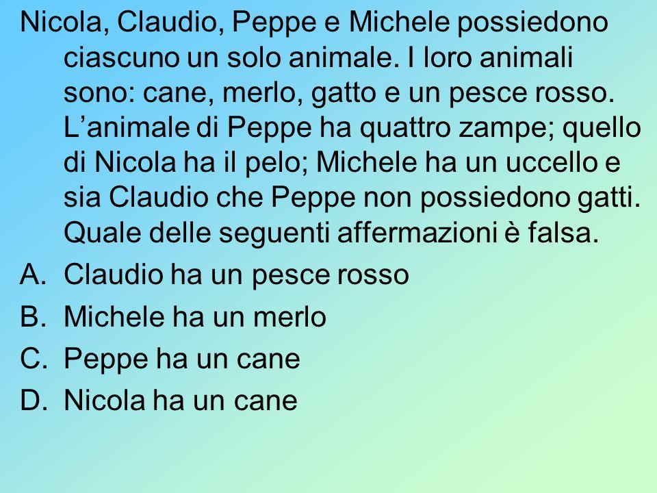 Nicola, Claudio, Peppe e Michele possiedono ciascuno un solo animale. I loro animali sono: cane, merlo, gatto e un pesce rosso. Lanimale di Peppe ha q