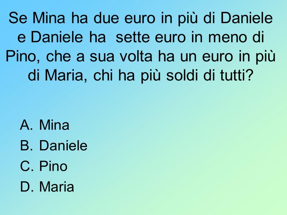 Se Mina ha due euro in più di Daniele e Daniele ha sette euro in meno di Pino, che a sua volta ha un euro in più di Maria, chi ha più soldi di tutti?