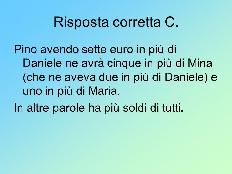 Risposta corretta C. Pino avendo sette euro in più di Daniele ne avrà cinque in più di Mina (che ne aveva due in più di Daniele) e uno in più di Maria