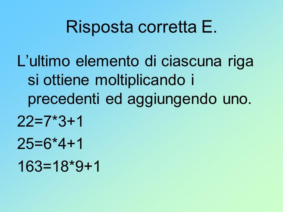 Risposta corretta E. Lultimo elemento di ciascuna riga si ottiene moltiplicando i precedenti ed aggiungendo uno. 22=7*3+1 25=6*4+1 163=18*9+1