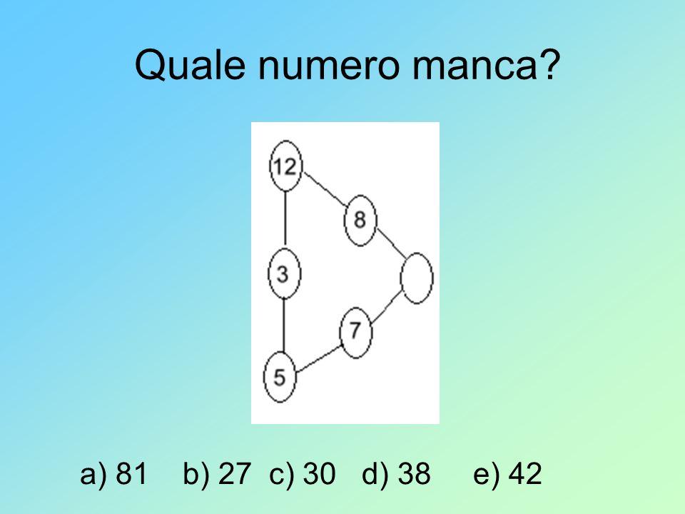 Quale numero manca? a) 81 b) 27 c) 30 d) 38 e) 42